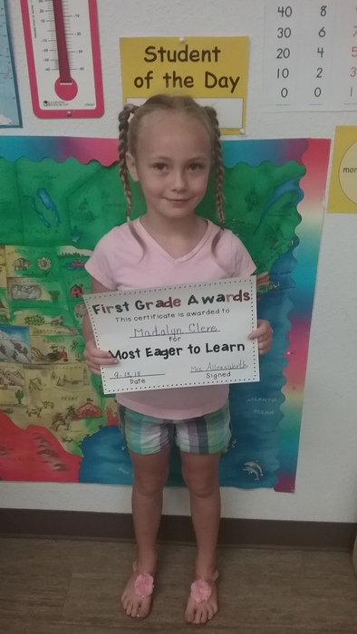 1st Grade Student of the Day